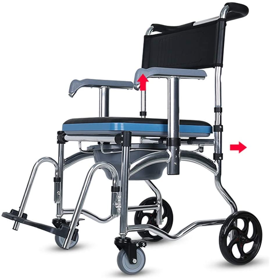 CSS Chrome Plated Steel Deluxe Wheeled Shower Commode Chair | Lockable Brakes | for Bedside Bathroom Use, Mobile Bedside Commode,a