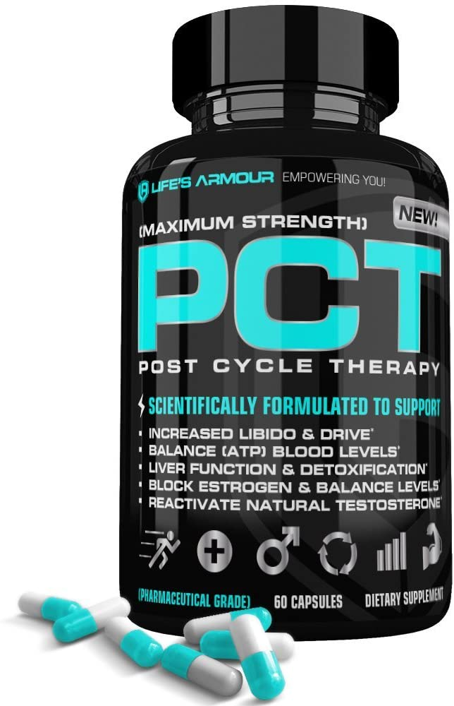 PCT by Life's Armour | High Potency Estrogen Blocker & Natural Test Booster Supplement to Block Estrogen, Reactivate Testosterone, Detox Liver, Boost Libido for Post Cycle Therapy