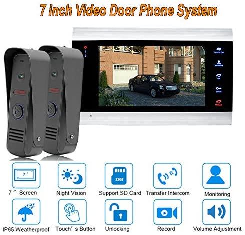 New Dual Way Video Door Phone Intercom system 7 inch 1200TVL Doorbell With IP65 HD Camera Door Bell System 2 camera 1 monitor
