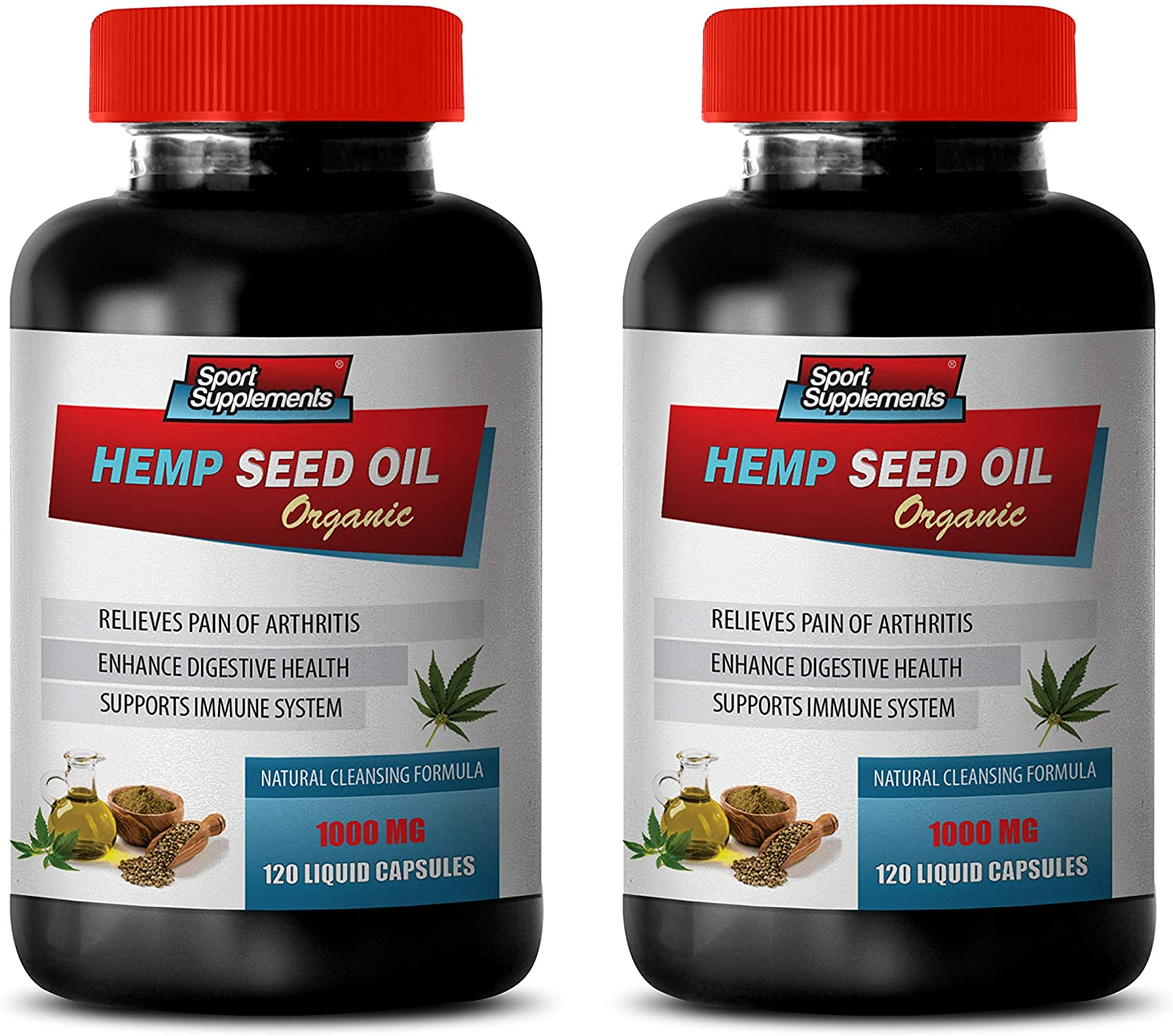 Pain Relief Formula - Hemp Seed Oil for Pain Relief 1000MG - Hemp Seed Oil Dietary Supplement - 2 Bottles 240 Liquid Capsules