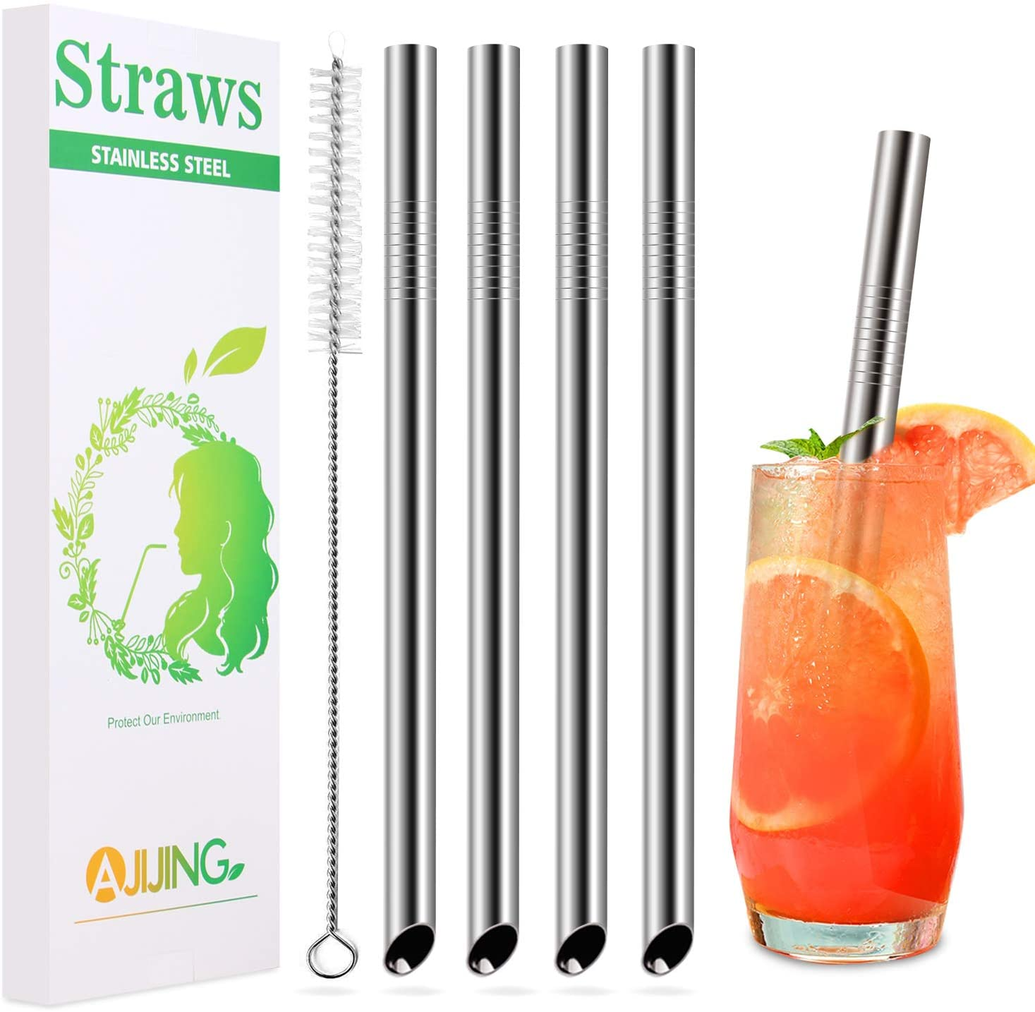 AJIJING Boba Metal Straws, 4PCS Reusable Stainless Steel Drinking Smoothie Straws 8.5/9.5 Inch Long and 0.5 Inch Wide with Case and Cleaning Brush for Milkshake,Buttle Tea and Homemade Thick Drinks