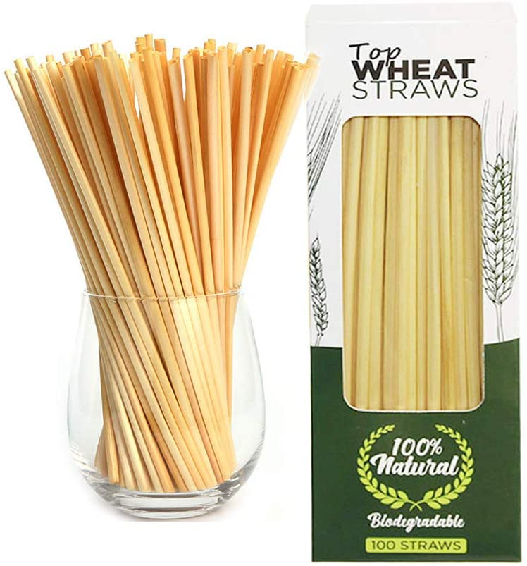 200 Pcs Organic Natural Wheat Drinking Straws, Eco-friendly Biodegradable Compostable Grass Straws for Drinking Party Bar Restaurant Kitchen