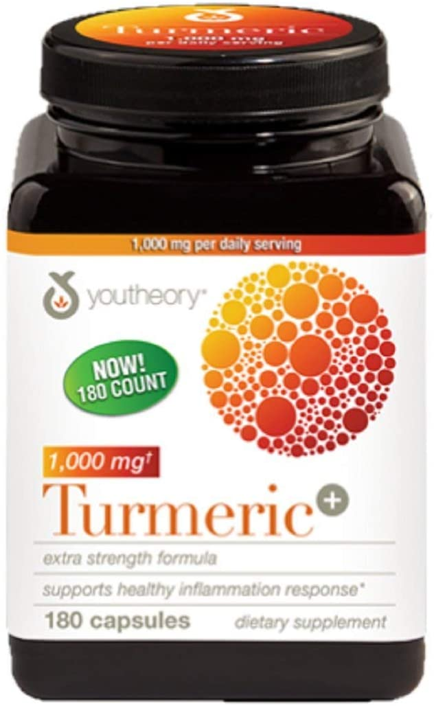 Youtheory Turmeric Extra Strength Formula Capsules 1,000 mg per Daily, 180 Count (Pack of 1)