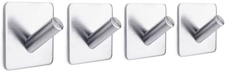 Coat Hooks Self Adhesive Coat Hooks Stainless Steel Towel Hanger 4 Pieces of Robe Hooks for Bathroom Kitchen and Closet