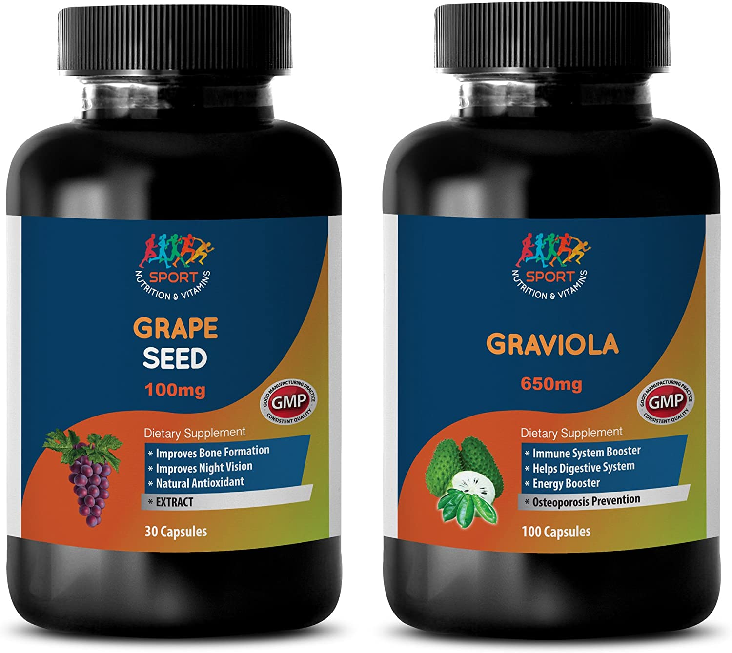 Metabolism and Nutrition - Grape Seed Extract – GRAVIOLA Extract - graviola Extract - 2 Bottles Combo (30 Capsules + 60 Capsules)