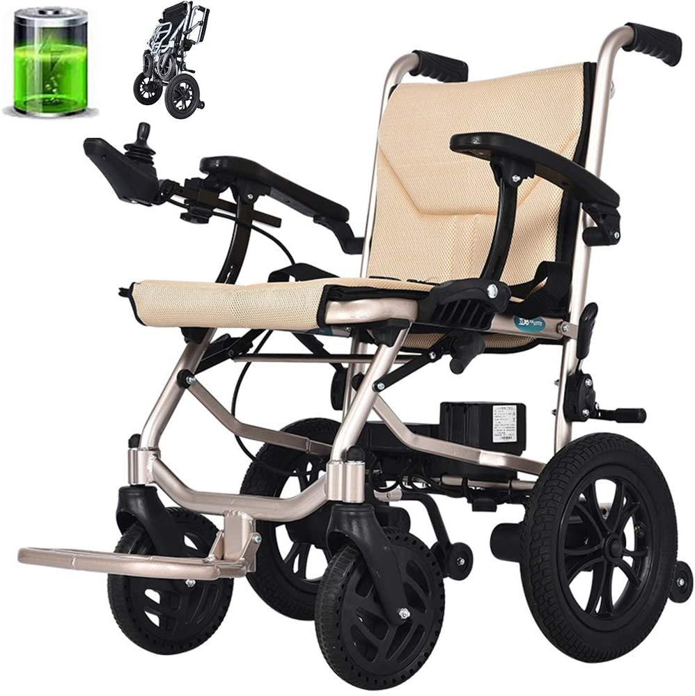 CHJ Electric Wheelchair, Portable Folding Wheelchair, Front and Rear Dual Control, Dual Motors, Widened Seat, is The Best Gift,for The Elderly/The Disabled