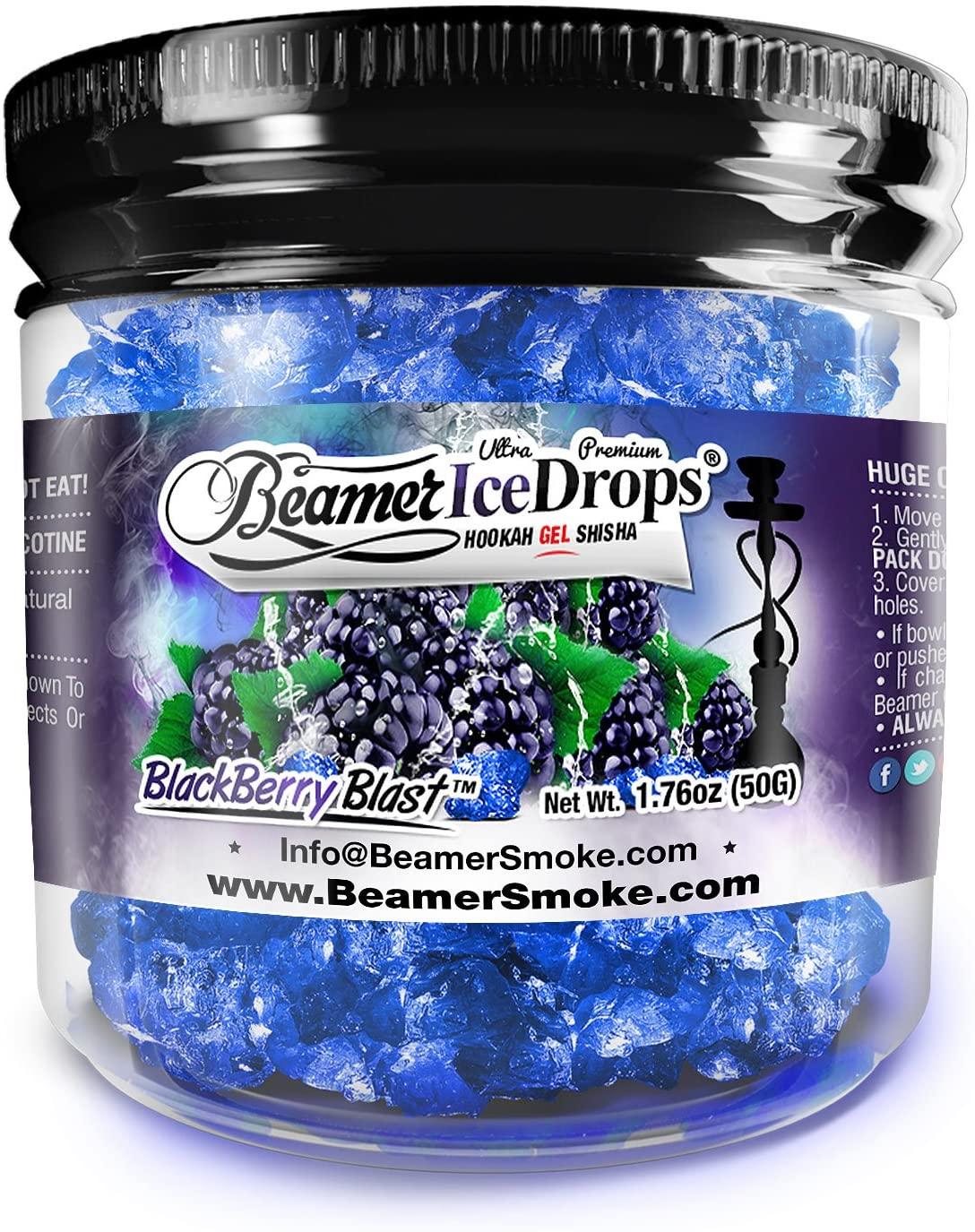 BlackBerry Blast 50G Ultra Premium Beamer Ice Drops Hookah Shisha Smoking Gel. Each Bowl Lasts 2-4 Hours! USA Made, Huge Clouds, Amazing Taste! Better Taste & Clouds Than Tobacco!