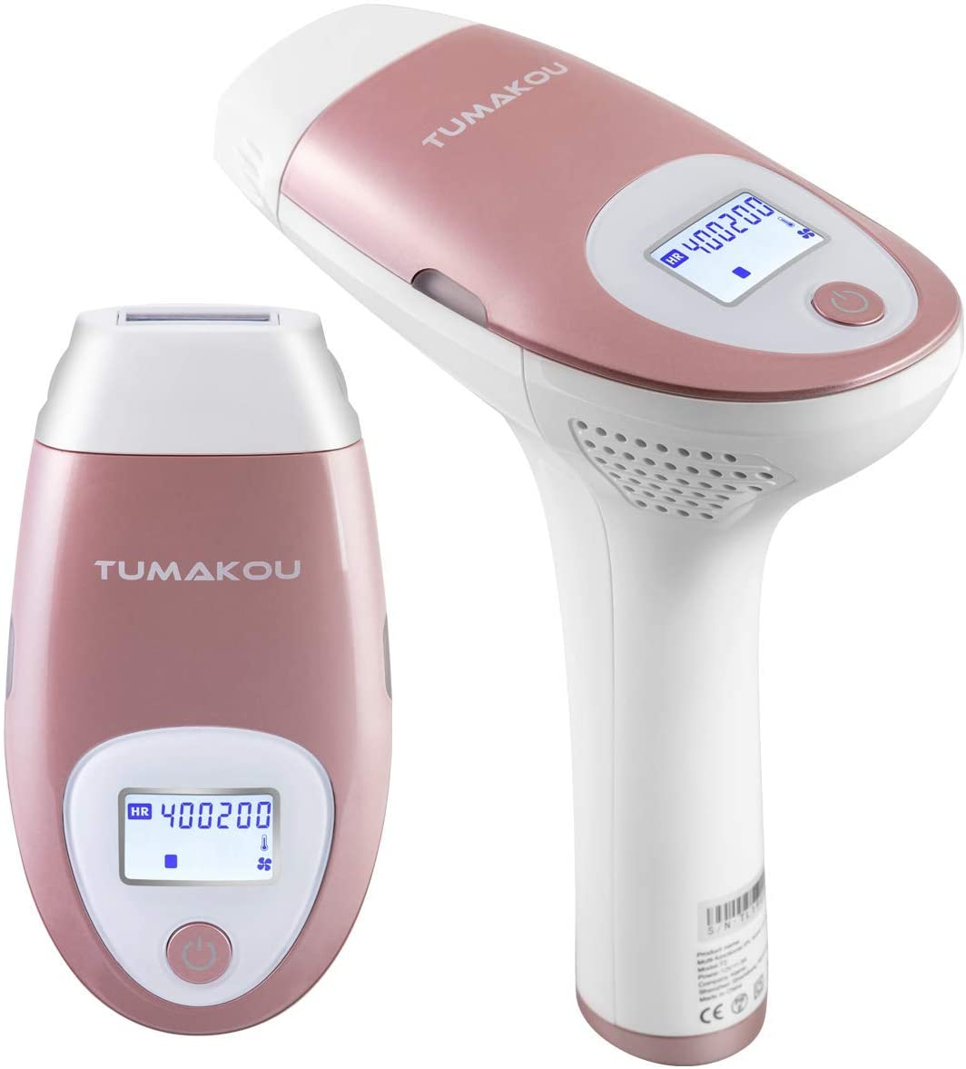 IPL Hair Removal System - TUMAKOU-T2 Painless IPL Hair Removal Device for Women & Man - 400000 Flashes Epilator - Permanent Results on Face and Body