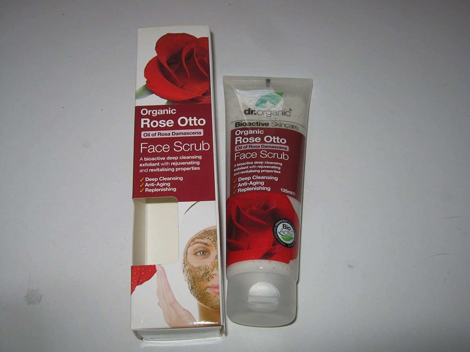 Dr Organic Rose Otto Face Scrub 125ml (Anti-aging, Deep Cleansing, Replenishing) Gift Fro You