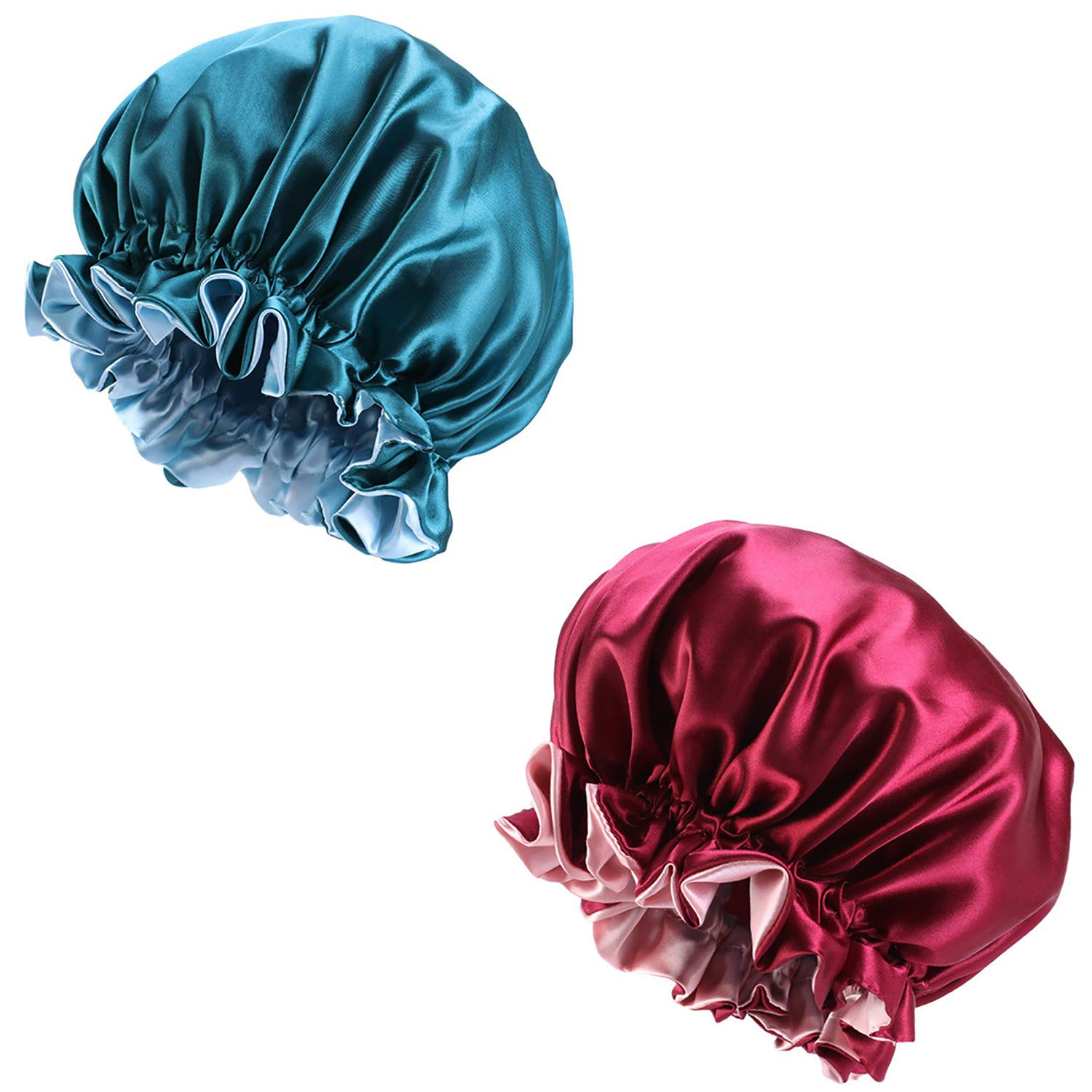 2 Pieces Satin Bonnet Double Layer Sleep Cap Silky Bonnet Cap for Women Haircare,Curly Natural Hair (X-Large, Hole Blue+Wine Red)