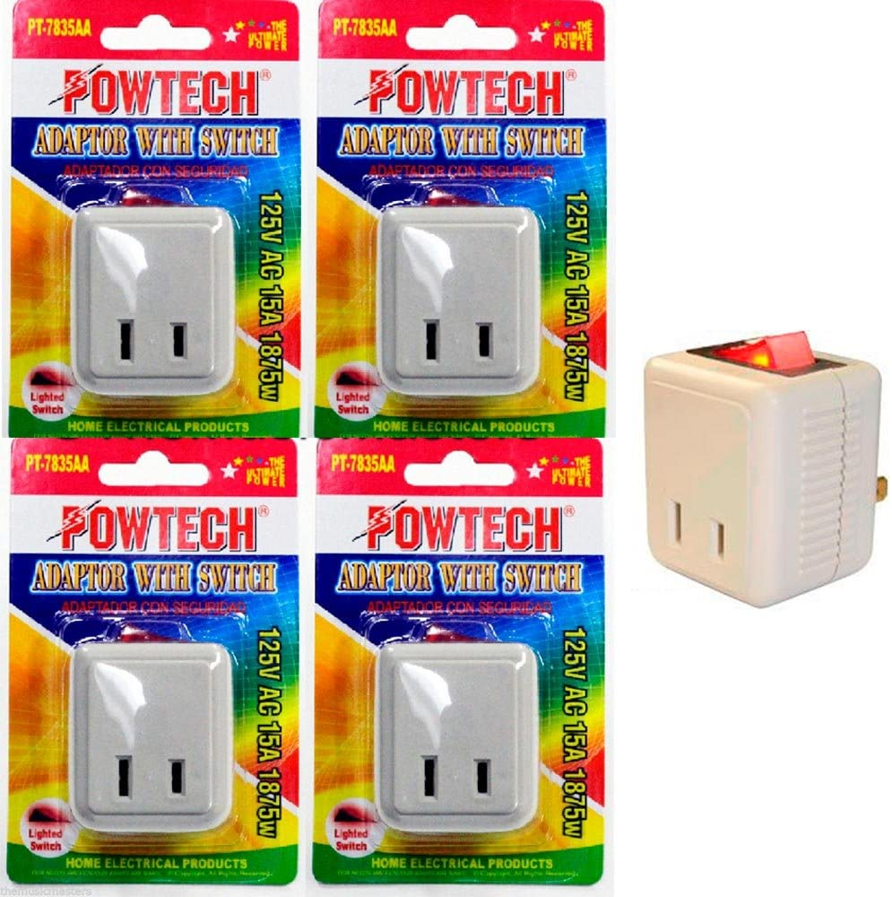 4 Pc Outlet Wall Tap Single Port Power Electrical Adapter On Off Lighted Switch