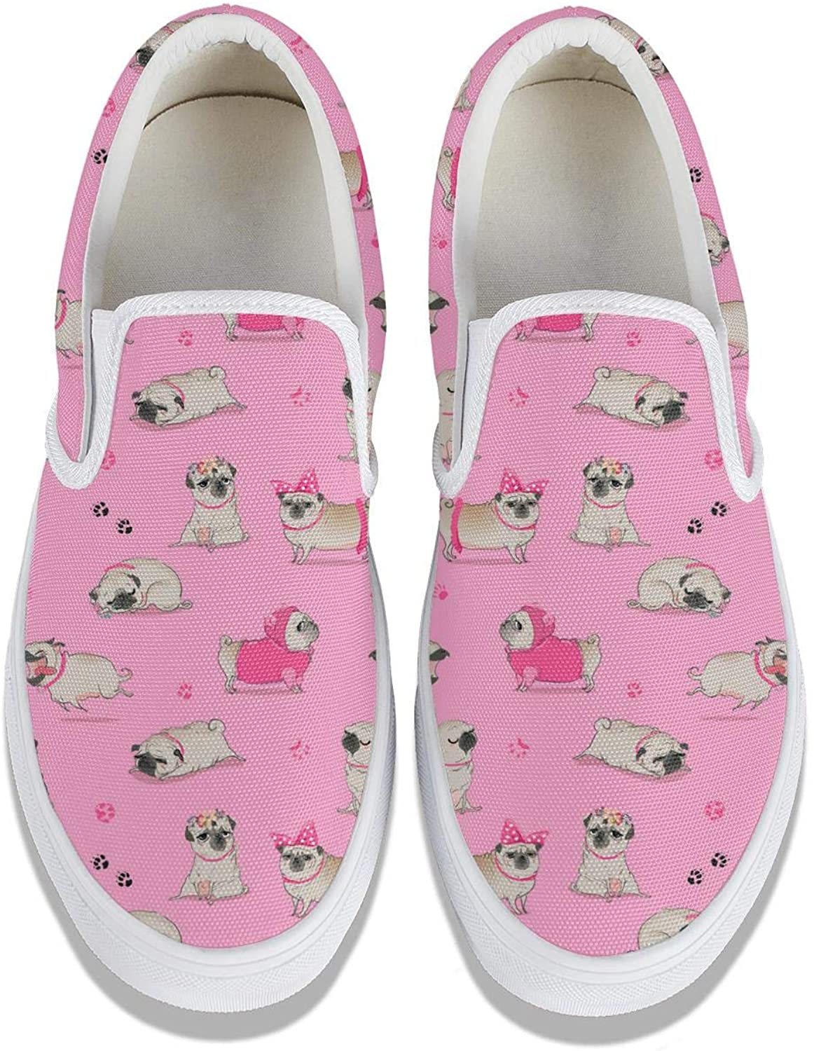 Pug Portrait Classic Women's Canvas Slip-Ons Loafer Shoes Sneaker