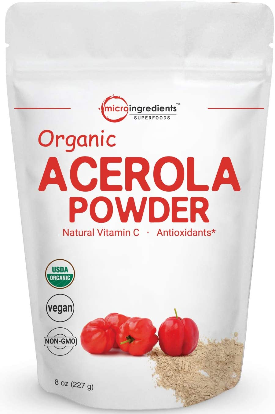 Pure Acerola Cherry Powder Organic, Natural and Organic Vitamin C Powder (Immune Vitamin) for Immune System Booster, 8 Ounce, Best Superfoods for Beverage, Smoothie and Drinks, Vegan Friendly
