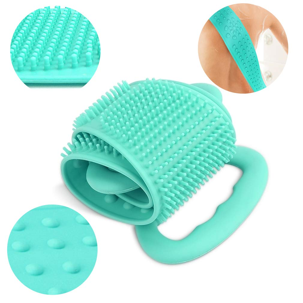 [New Upgraded] SuPoo Silicone Back Scrubber for Shower Silicone Body Brush Exfoliating Body Back Scrubber Deep Clean Your Body Skin (Green)