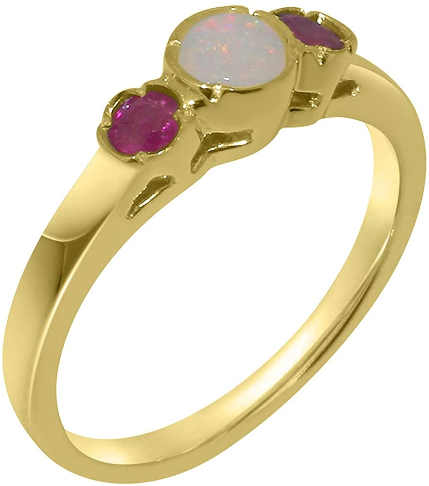 Solid 18k Yellow Gold Natural Opal & Ruby Womens Trilogy Ring - Sizes 4 to 12 Available