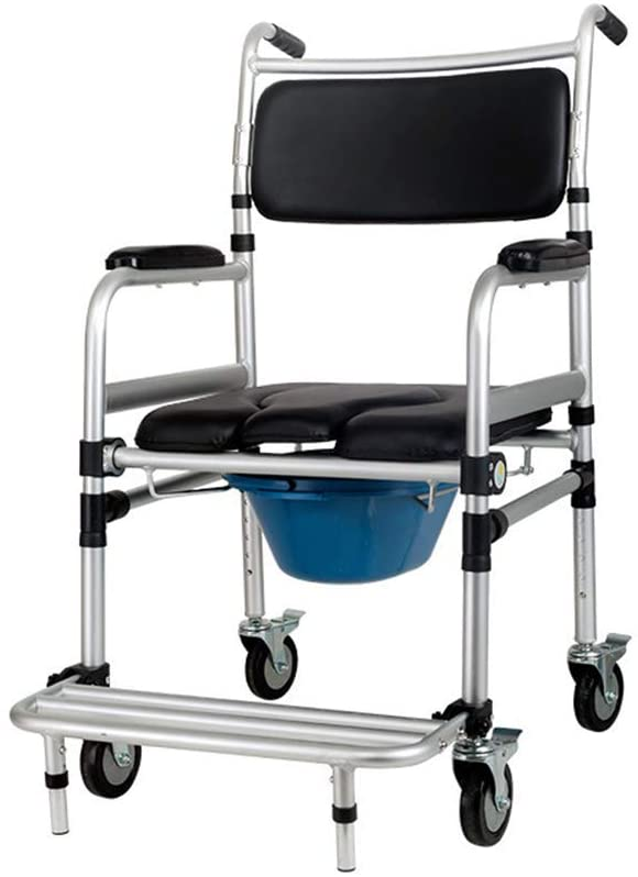 SSHHI Mobile Commode Chair,with Wheels Foldable Toilet Chair,for The Elderly and Pregnant Women