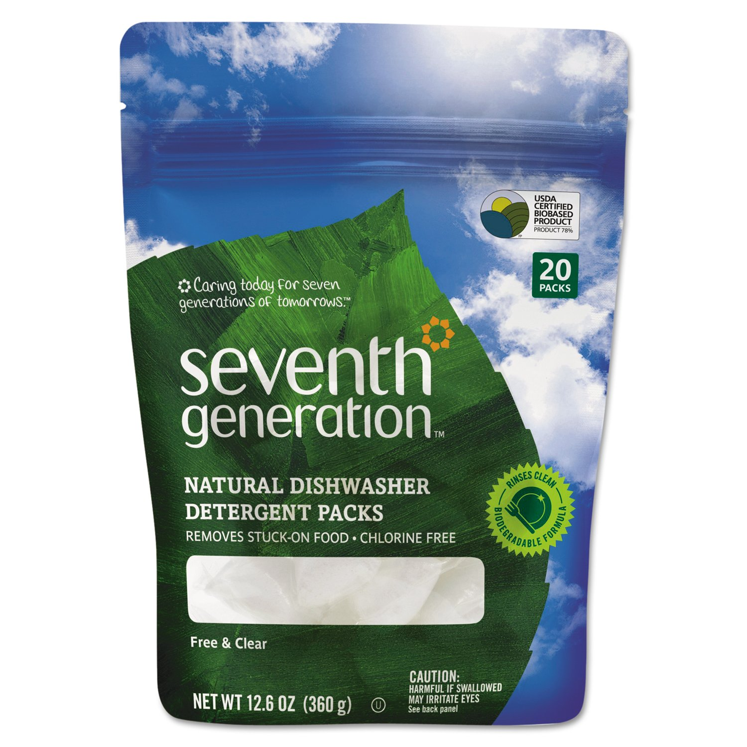 Seventh Generation 22818CT Natural Dishwasher Detergent Concentrated Packs, 20 Packets Per Pack (Case of 12 Packs)