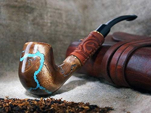 Long Tobacco Smoking Pipe Lightning with Gemstone Turquoise, Exclusive Wood Pipe, Smoking Bowl, Wood Carved Smoking Pipes, Christmas Gift