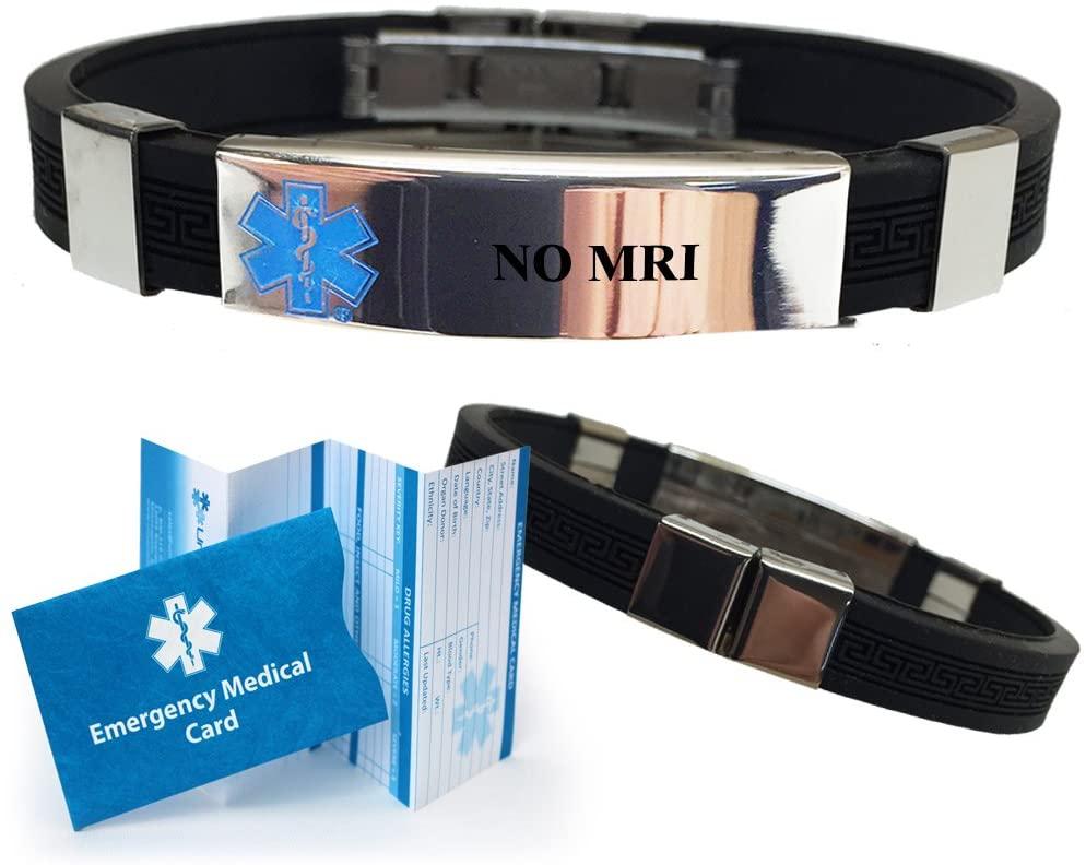 No MRI Designer Medical Alert ID Bracelet. Choose Color!