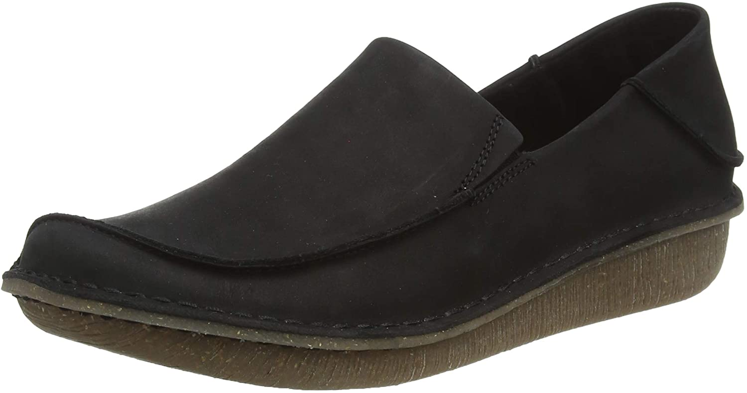 Clarks Women's Funny Go Loafers, Black (Black Leather Black Leather)