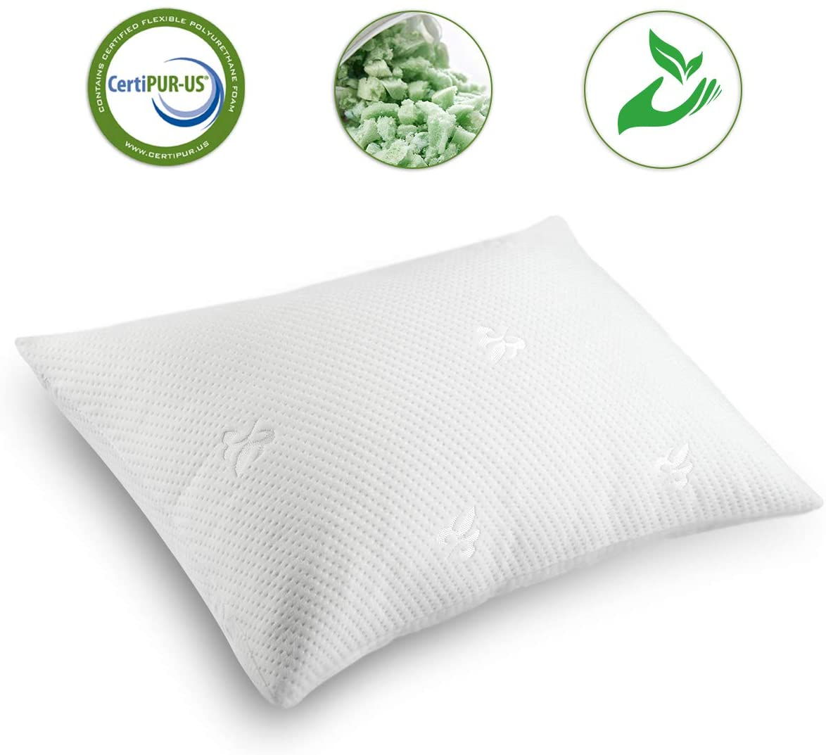 Cooling Bed Pillows for Sleeping Shredded Memory Foam Pillow Standard(20x26) with Washable Pillow Cover,Great Support and Fluffy