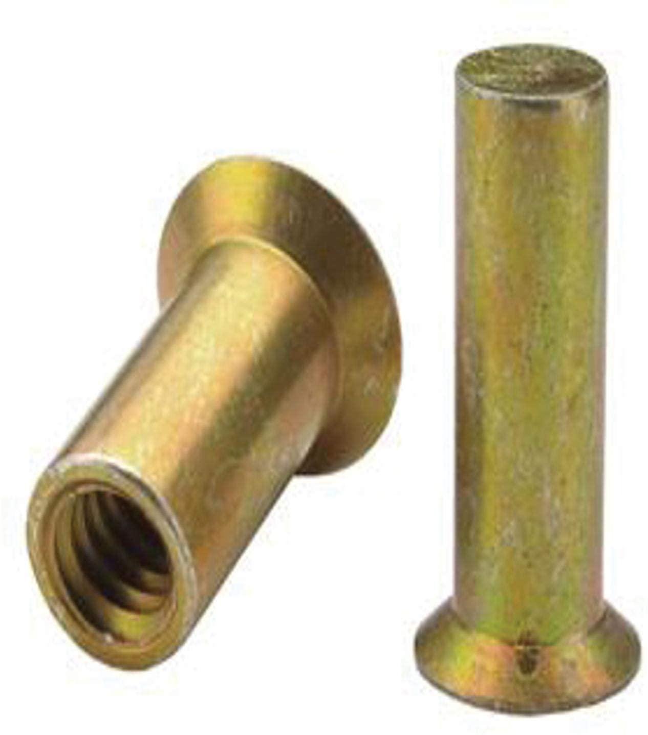AESM5B5.1, RIVETNUT, M5x0.8 (3.60-5.10mm GR) RND Body, CSK HD, CLSD End, Steel, CAD CLR (5 PK)