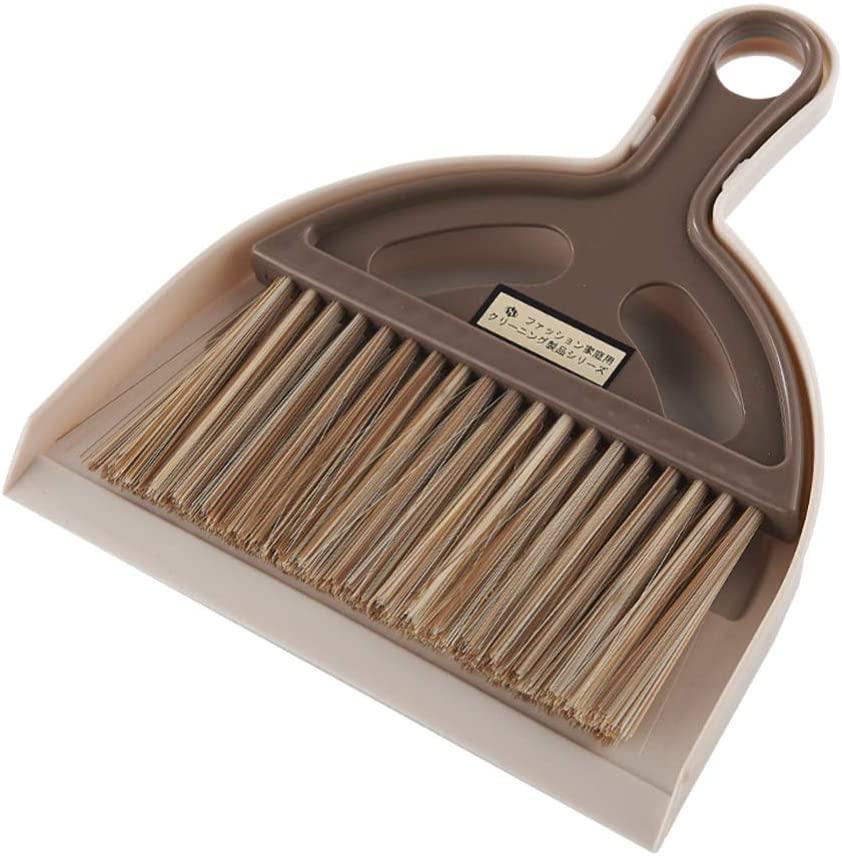 LIOOBO Mini Hand Broom Dustpan Set Desktop Computers Keyboard Cleaning Brush for Home Office (Brown)