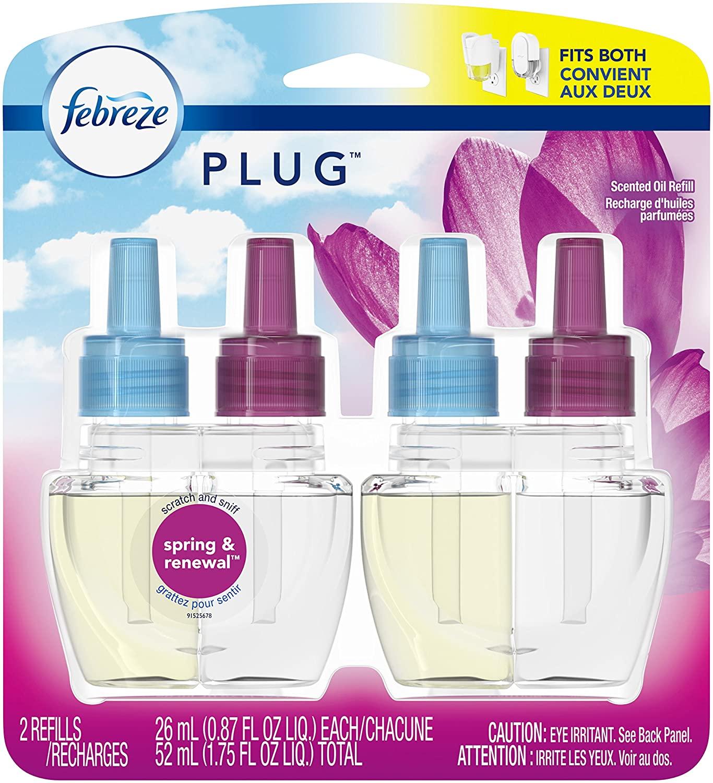 Febreze PLUG Air Freshener Scented Oil Refill, Spring & Renewal, 2 count