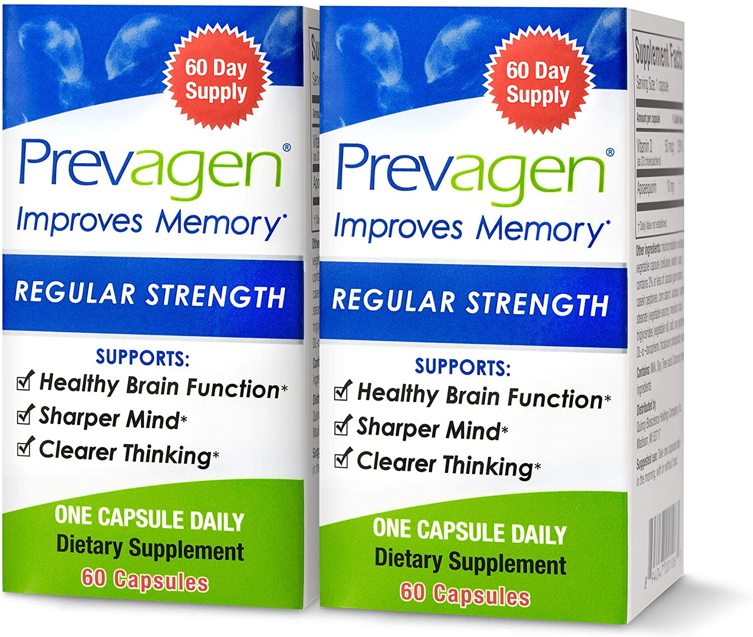 Prevagen Improves Memory - Regular Strength 10mg, 60 Capsules |2 Pack| with Apoaequorin & Vitamin D | Brain Supplement for Better Brain Health, Supports Healthy Brain Function and Clarity