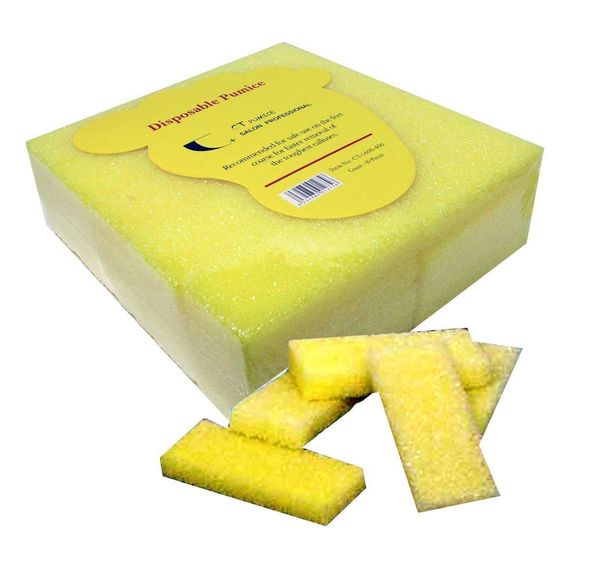 40pc Coarse CT Mini Disposable Pumice Pads -Yellow