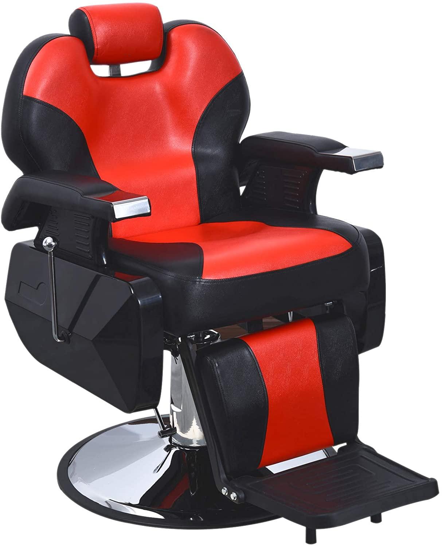 BarberPub Heavy Duty Reclining Barber Chair All Purpose Hydraulic Salon Chair for Barbershop Stylist Tattoo Chair 2687 (Black-Red)