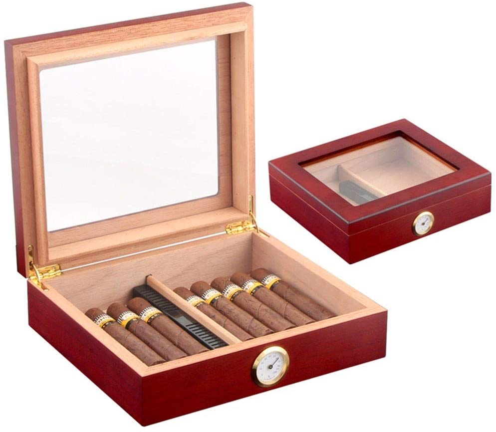 NACHEN Wooden Cigar Humidor with Hygrometer Holds 30 Cigars Brown Black