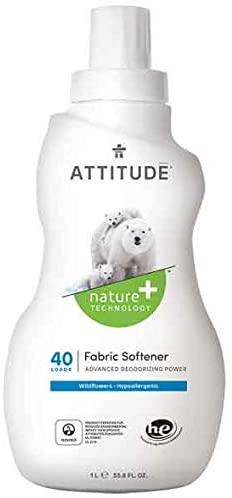 ATTITUDE Nature +, Hypoallergenic Fabric Softener, Wildflowers, 33.8 Fluid Ounce, 40 Loads