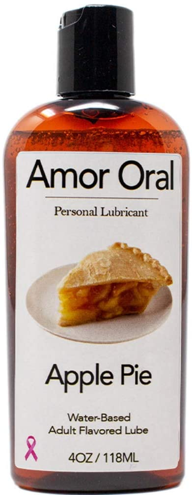 Amor Oral Apple Pie Flavored Lube, Edible and Body Safe, Water-Based Personal Lubricant 4 Ounce Apple Pie