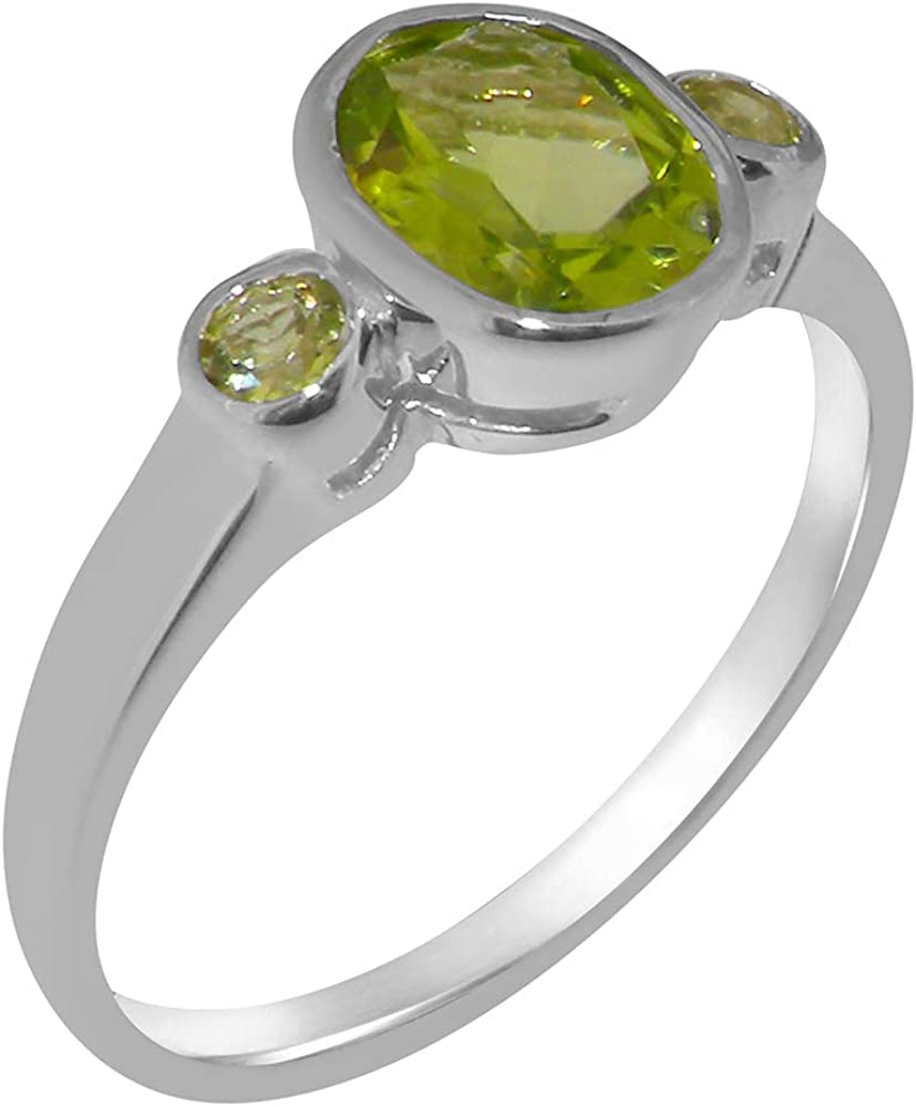 Solid 18k White Gold Natural Peridot Womens Trilogy Ring - Sizes 4 to 12 Available