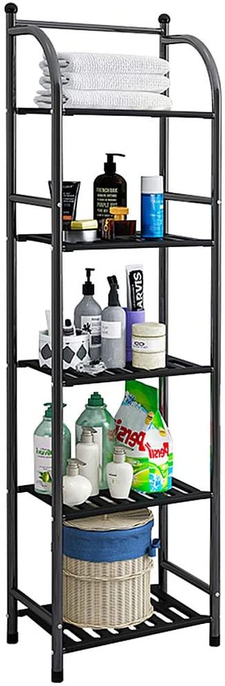 FKUO 5 Tier Bathroom Storage Open Shelf Unit, Free-Standing Metal Corner Rack Shelving for Kitchen, Living Room, Hallway (Black, 5 Tier)