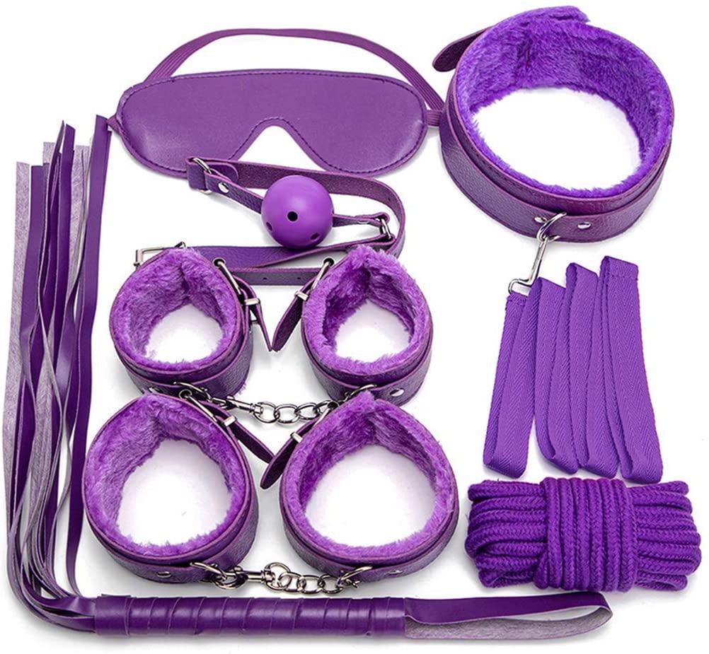 XANGLO 1Set BDS-M Restraint Fetish Collar Handcuff Bondage Whip Eye Máśḱ MǒuthGag Kit Ǎd-ULT Ṡěx Tǒys for Women Games Exotic Accessories