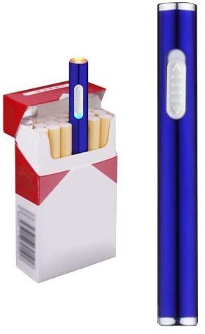 Wiber Mini USB Cigarette Lighters Rechargeable Windproof Flameless Slim Electric Protable Lighter (Black)