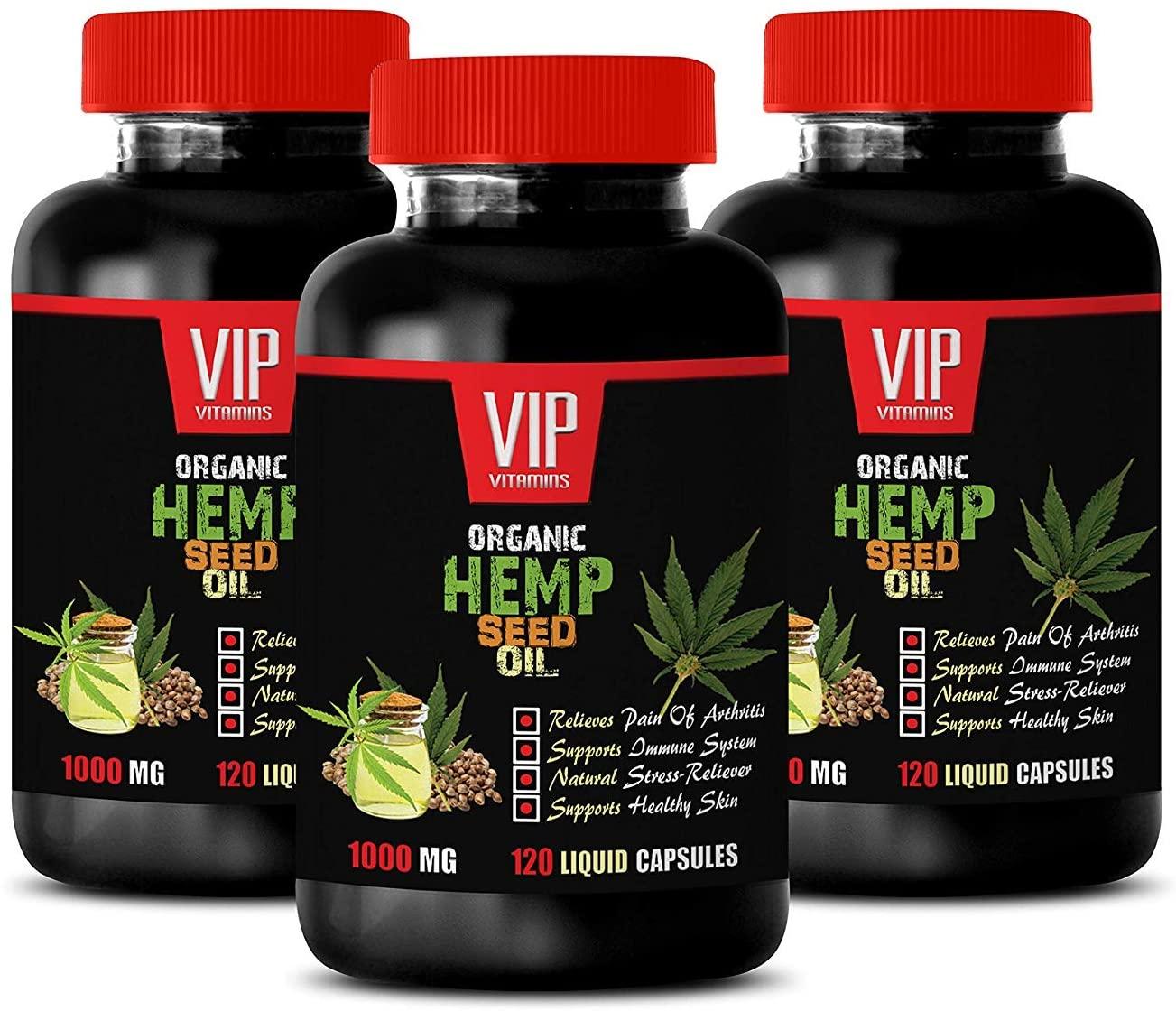 Anxiety Supplements - Organic Hemp Seed Oil 1000MG - Pain Relief - Brain and Heart Health - Mood Boosting Vitamins - 3 Bottle (360 Liquid Caps)
