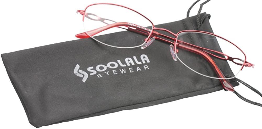 SOOLALA Stylish Reader Eyeglass Semi-rimless Exquisite Alloy Frame Reading Glasses