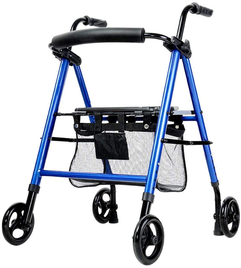 HTLLT Walking Aid Medical Instruments Walker Lightweight Roller with Seat and Basket and Brake Foldable Elderly Obstacle Rolling with 4 Wheels Suitable for Adults Seniors Disabled