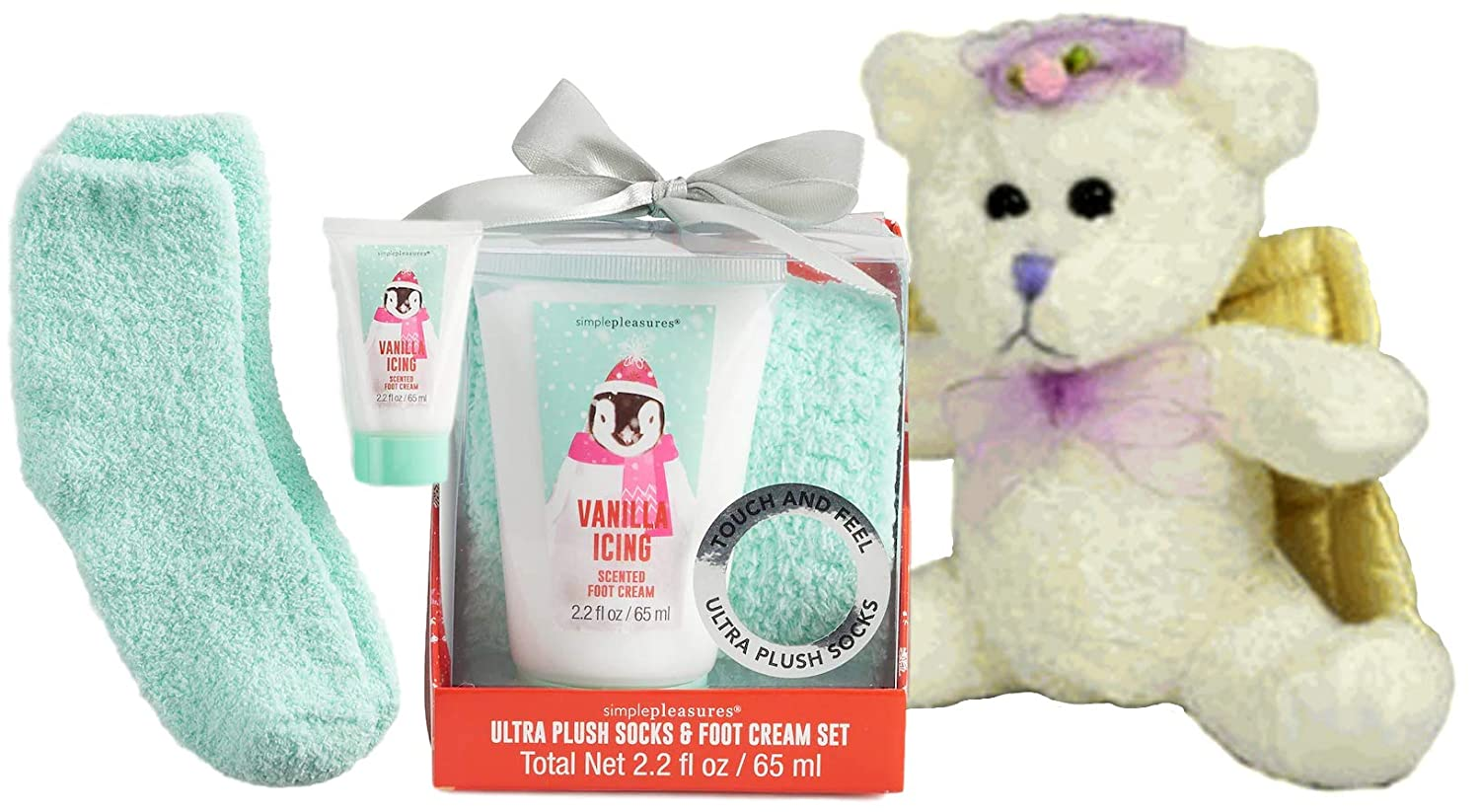 Homeschool Mom Pampering Set Teddy Bear Super Soft Relaxing Cozy Socks and Vanilla Icing Hand & Food Cream In Gift Bag