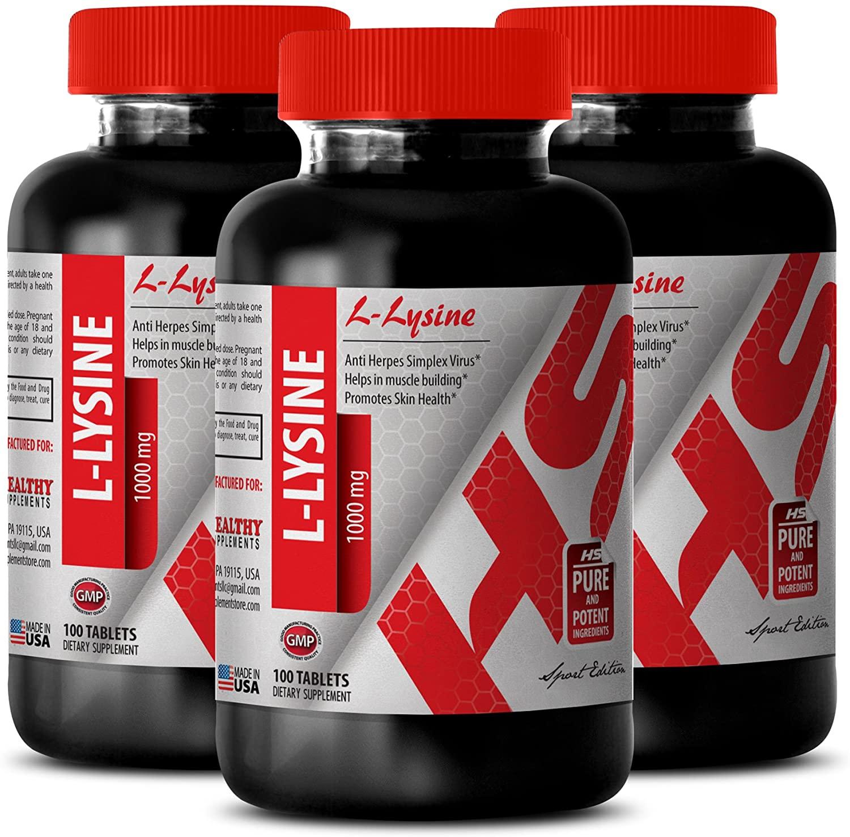 Pure lysine Powder - L-LYSINE Supplement 1000 MG - Improve Hair Health (3 Bottles)