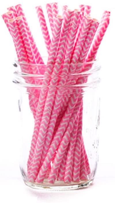 Simply Baked Paper Cocktail Straw, Fuchsia Chevron, 5.5