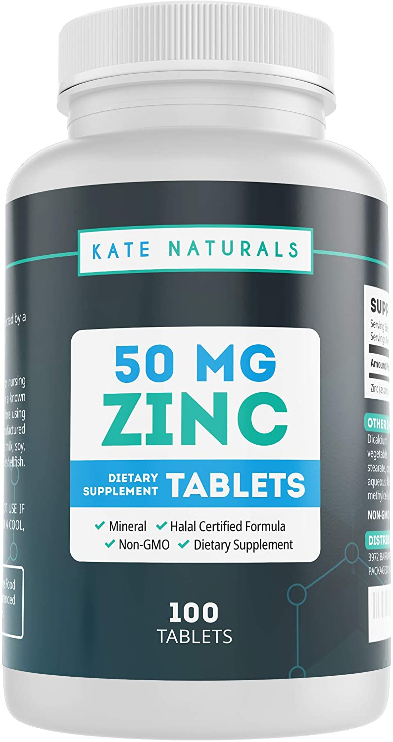 Zinc 50mg Vitamin Supplement for Immune System Support (100 Tablets) - Kate Naturals. Zinc for Adults & Kids. Non-GMO.