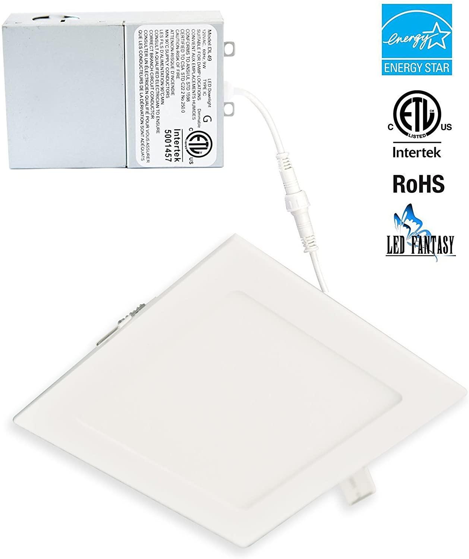 LED FANTASY 6-Inch Square 15W 120V Recessed Ultra Thin Ceiling LED Light Retrofit Downlight Wafer Panel Slim IC Rated ETL Energy Star 1010 Lumens (Warm White 3000k, 1 Pack)