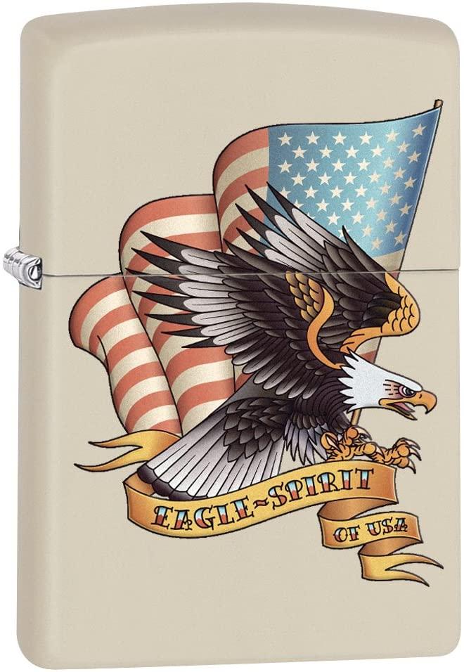 Zippo Lighter: Eagle Spirit of USA - Cream Matte
