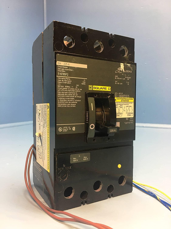 Square D KHL3622522DC2315 225A DC Circuit Breaker Green 516785P2 UVR Aux 225 Amp
