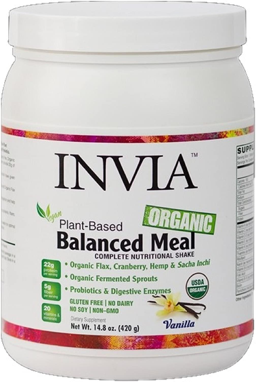 Invia Organic Balanced Meal (Vanilla) Nutritional Shake - Plant Based Powder - Vegan/Vegetarian, Soy Free, Dairy Free, Gluten Free - Protein Powder Superfood