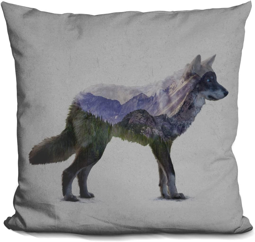 LiLiPi Rocky Mountain Grey Wolf Decorative Accent Throw Pillow